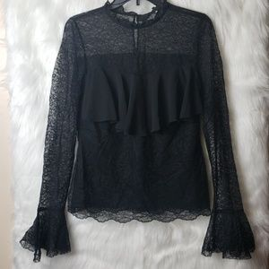 Tops - Black Boho Lace Blouse with Flared Long Sleeves